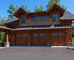 outstanding log cabins with garages plans using wooden barn style