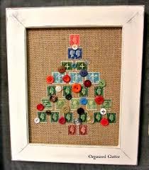 framed postage stamp u0026 button christmas tree craft hometalk