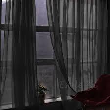black sheer curtain scarf moshells 2 piece solid black sheer