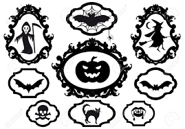 vector halloween halloween set with frames vector design elements royalty free