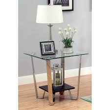 espresso beveled glass coffee table furniture of america ardea beveled glass top end table chrome