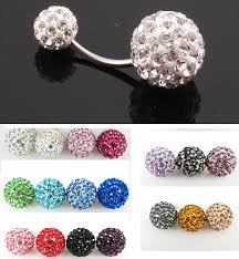 ball belly rings images Crystal double disco ball ferido belly bar navel belly button ring jpg