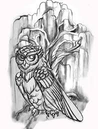 line drawing owl willow tree tattoo candace tattoo flash