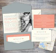 wedding invitation pocket envelopes coral and grey pocket wedding invitation jeneze designs