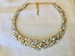 crystal pearl necklace images Swarovski champagne crystal pearl mosaic bridal collar statement jpeg