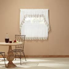 Curtain Band Lillian Ivory Macrame Band Tier Curtain Curtain U0026 Bath Outlet