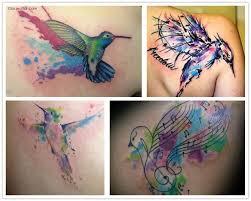 awesome colorful aqua flying bird tattoo designs