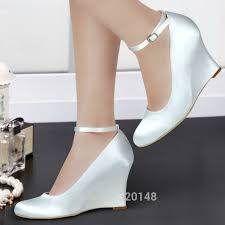 wedding shoes wedges ivory white woman wedding wedges high heel ankle pumps