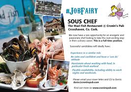 Cover Letter For Chef We Are Hiring U2013 Sous Chef Wanted U2013 Cronins Pub