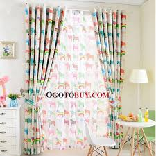 Kids Blackout Eyelet Curtains Cute Green And Red Horse Pattern Insulated Kids Blackout Curtains
