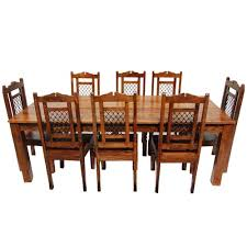 9pc dining room set solid wood rustic transitional 9pc dining table chair set