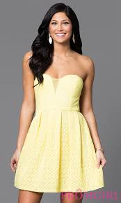short strapless yellow lace dress promgirl