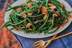 this green bean salad has garlic chips bon appetit
