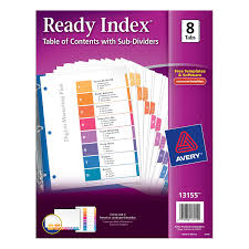 amazon com avery ready index table of contents dividers with sub