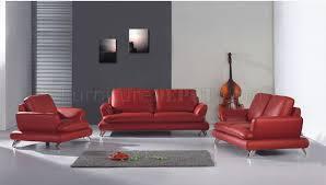 modern red leather living room set