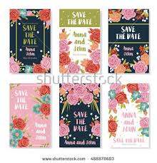 wedding invitation banners roses bouquet ornament stock vector