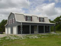 simple level barn metal building homes with small balcony and