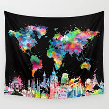 Map Tapestry Mapping Wall Tapestries Society6