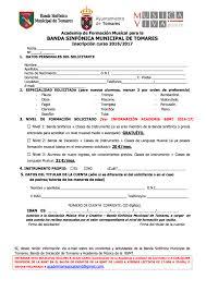 Preferidos Ficha de Inscripción - Banda Sinfonica Municipal de Tomares #MI18