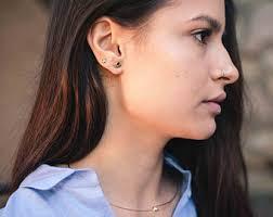 black ear studs clip on earrings etsy