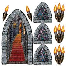 pack of 9 medieval dungeon halloween scene setter add on party