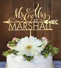 mr mrs cake topper personalized mr mrs wedding cake topper with arrow woodword