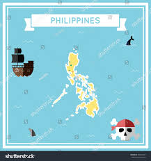 Map Of Phillipines Philippines Flat Treasure Map Colorful Cartoon Stock Vector