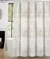 Brown Floral Shower Curtain Amazon Com Tahari Fabric Shower Curtain Beige Gray Brown Paisley