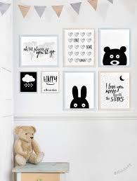 Bunny Wall Art Nursery Animal Print Poster Minimal Black And - Prints for kids rooms