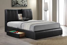 Bed Frame Set Drommen Acacia Bed With Leather Headboard Cb2 In Frame