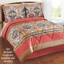 Southwestern Comforters Jaron Southwestern Aztec Comforter Set With Bedskirt From