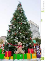 giant christmas tree with presents stock photo image 43091670