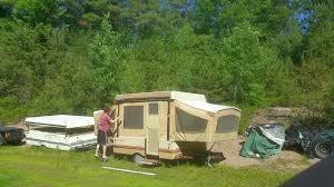 Bag Awning For Pop Up Camper Popup Camper Awning Setup Alone Youtube
