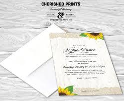 Funeral Service Invitation Sunflowers Mourning Card Invitation Memorial Service