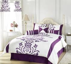 Cream Bedding And Curtains White Bedroom Wall Theme And Purple Curtains Plus Black Wooden Bed