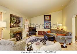 beautiful living room hardwood floors tv stock photo 262437152