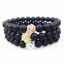 mens bracelet black beads images Sn0353 gold rose gold silver lion head bead bracelet 8mm matte jpg