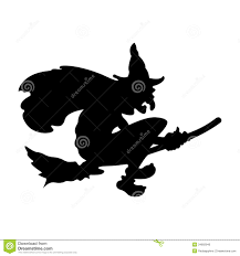 scary halloween witch flying on broom stock photo image 34682940