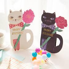 funny cat and flower birthday card envelope set 19 12 4cm diy
