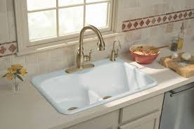 Double Kitchen Sink Attractive White Color Cast Iron Kitchen Sink Featuring Double