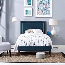 Blue Bed Frame Modern Contemporary Design Bedroom Size Platform Bed