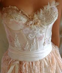 Country Shabby Chic Wedding by Pearl Bustier Gown Wedding Dress Boho Whimsical Fairy Woodland