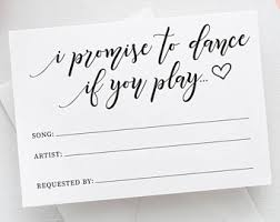wedding song request cards song request card etsy