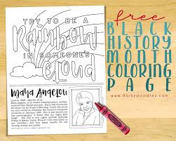 printable history quotes black history month coloring page maya angelou dorky doodles
