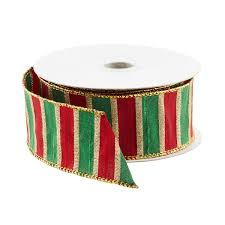 wired ribbon green with gold edge stripe wired ribbon the container store