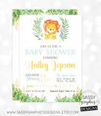 lion boy baby shower invitation baby boy invite watercolor