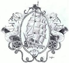 traditional pirate ship and mermaid tattoo design real photo
