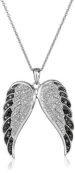 necklace with angel wings images Sterling silver black and white diamond angel wings jpg