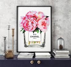 chanel poster pink peony vase chanel art print chanel wall art