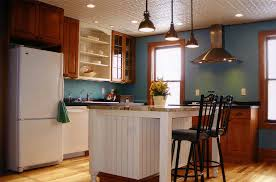 kitchen island sink vent solid light oak wood counter tops pendant
